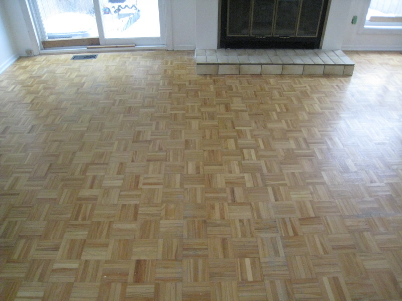 Parquetry flooring in need of refinishing